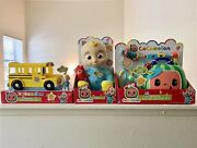 Cocomelon Bundle Jj Plush Doll Plays 7 Diff Sounds Check Up Set And Wheels On Bus