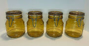 Lot Of 4 Vintage Floral Amber Glass Wire Bale Jar 1l Made In Italy 6.4