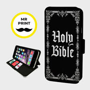 Holy Bible Christian Book- Faux Leather Phone Flip Cover - Fits Iphone And Samsung