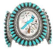 Vintage Zuni Old Pawn Blue Jay Turquoise Inlay Bracelet, Sterling Silver Cuff S7