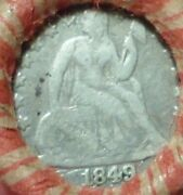 1849 Seated Dime And F-vf 1899 Indian Ends Estate Mixed Penny Shotgun Roll V6