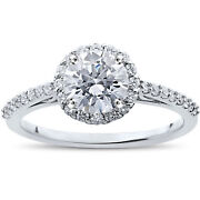 1 1/16 Ct Halo Vintage Round Diamond Eco Friendly Lab Grown Engagement Ring 14k