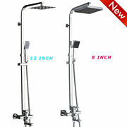 8 12'' Shower Head Faucet Sets Bathtub Spout Three-way Mixing Tap Wall Mounted