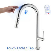 Smart Touch Hand Sensor Kitchen Sink Faucet Chrome Mixer Pull Out Swivel Taps