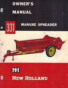 New Holland 331 Manure Spreader Operator's Manual Nh New