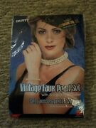 50's Vintage Faux Pearl Costume Jewelry Choker Necklace And Bracelet Set