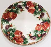 1993 Fitz And Floyd Winter Fruit 12andrdquo Chop Plate / Round Platter