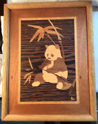 Vintage Nelson Marquetry Signed Wood Inlay Framed Art 13x10 Panda