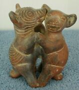 Pre-colombian Colima Dancing Dogs Vintage 3 1/2 Tall Brown Pottery