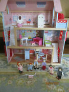 Andnbspchildrenand039s Wooden Dollhouse Kidscraft Pink With 37 Pieces Of Furniture 7 Dolls
