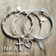 Inka 925 Sterling Silver Stacking Bracelets Set Of 3 With Heart Cross And Feather