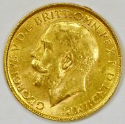1917-p Australia Sovereign Gold Coin Wwi For George V From The Perth Mint