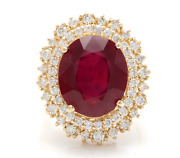 17.6ct Oval Cut Natural Ruby Real Solid 14k Yellow Gold Diamond Ring