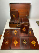 Antique Inlaid Mop Wood Case Duplicate Whist Rummy Card Game Set 1800's 12 Tray