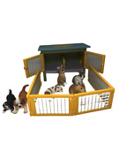 Schleich Rabbit Huch With 4 Rabbits And 2 Puppies