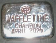 Five Troy Ounce Hand Poured 999 Fine Silver Bar Waffletime Champion April 2020