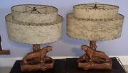 Mid Century Modern Tiger Planter Lamps With Two Tier Oval Fiber Shades Mcm