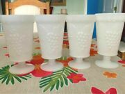 Anchor Hocking Milk Glass Vintage Grape Goblets Footed Parfait Tumblers Four