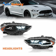 Set2 Full Projector Led Amber Headlights Front Lamps For 2018-21 Ford Mustang