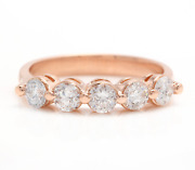 1ct Round Cut Natural Diamond Real Solid 14k Rose Gold 5 Stones Ring