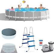 18ft Round Metal Frame Above Ground Swimming Pool With Filter Ladder Cover Set