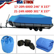 Waterproof 17-20ft 21-24ft Pontoon Boat Cover Trailerable Fit Beam 96and039and039/102and039and039