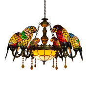 Parrot Stained Glass Shade Chandelier Living Room Ceiling Light Fixture