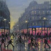 Original Best Oil Painting Noted Artist James Downie Late Night Window Shopping