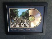 Beatles Abbey Road Gold Plated Album W- Laser Signatures - Framed Plexi