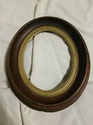 Unique Antique Vintage Oval Wood And Brass Picture Frame No Glass