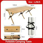 Camping Wood Table Folding Portable Egg Roll Style Stable Bbq Table Solid Wood D