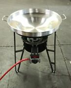 Stainless Steel 22 Comal Concave Disc Fire Taco Wok Set Propane Burner Stand