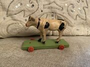 Small Antique Rare German Cow Pull Toy Putz Doll Accessory Primitive