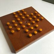 Vintage Wood And Metal Solitaire Peg Puzzle Game In Box By Crestline No 310