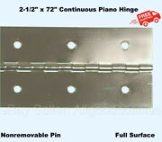 2-1/2 X 72 Continuous Piano Hinge Steel Finish Full Surface Nonremovable Pin