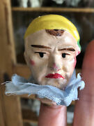 Sweet Antique Doll Germany Puppet Head Only Puppeteer Harlequin C Early 1900's