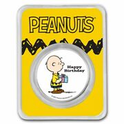 Peanuts Charlie Brown Happy Birthday 1 Oz Colorized Silver Ships Free Today