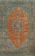 Floral Semi-antique Orange Traditional Area Rug Evenly Low Pile Hand-knotted 7x9