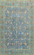 Antique Floral Tebriz Blue Handmade Area Rug Evenly Low Pile Wool Carpet 10and039x11and039
