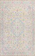 Antique Floral Ivory Tebriz Hand-knotted Area Rug Wool Oriental Carpet 10and039x13and039