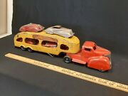 1940s Marx Auto Transport Car Carrier Pressed Steel Toy Truck W/ 4 Cars, Ramps