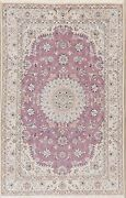 Floral Pink Wool/ Silk Nain Traditional Area Rug Handmade Oriental Carpet 5x8 Ft