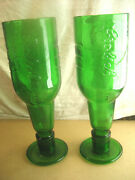 Vintage Pair Grolsch Beer Glasses Made From Recycled Bottles Limited Edition