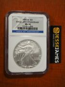 2006 W Burnished Silver Eagle Ngc Ms70 From 20th Anniversary Set Blue Label