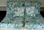 Greendale Patio Cushions Nwt 6 Pcs For 2 Deep Seat Chairs Blue Green And Yellow