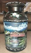 Antique Metal Milk Jug Hand Painted Country Covered Bridge Winter Summer By Bbb