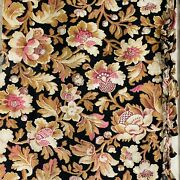 Antique French Black Material Old Textile Farmhouse Floral Material