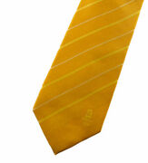 Beijing 2008 Olympics Menand039s Necktie Yellow Gold Striped Tie Collectible Euc