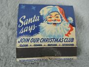 Vintage Christmas Club Matchbook Matches Santa Claus Cover Match Features