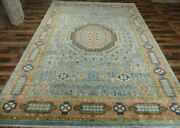 10and039x14and0393 Fine Blue Pure New Zealand Wool Mamluk Design Hand-knotted Oriental Rug
